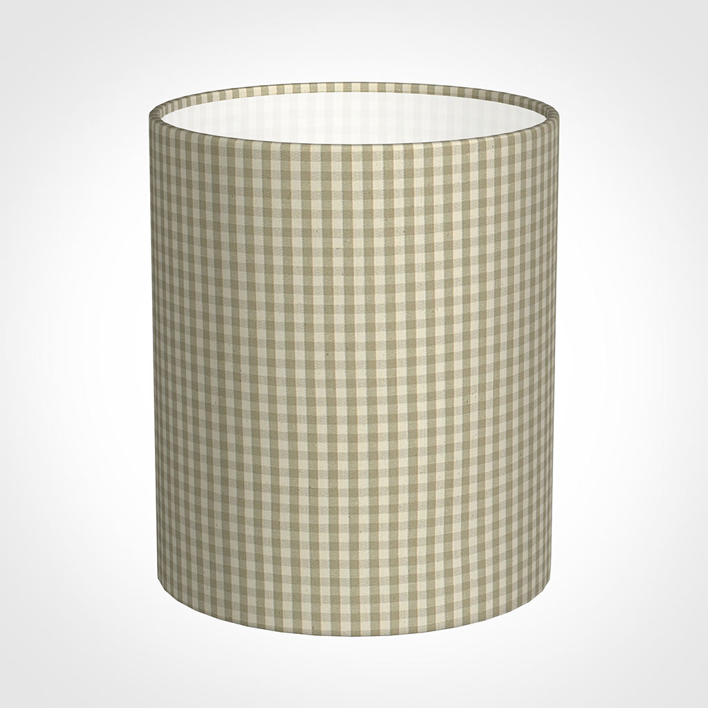 20cm Medium Cylinder Shade in Natural Longford Gingham