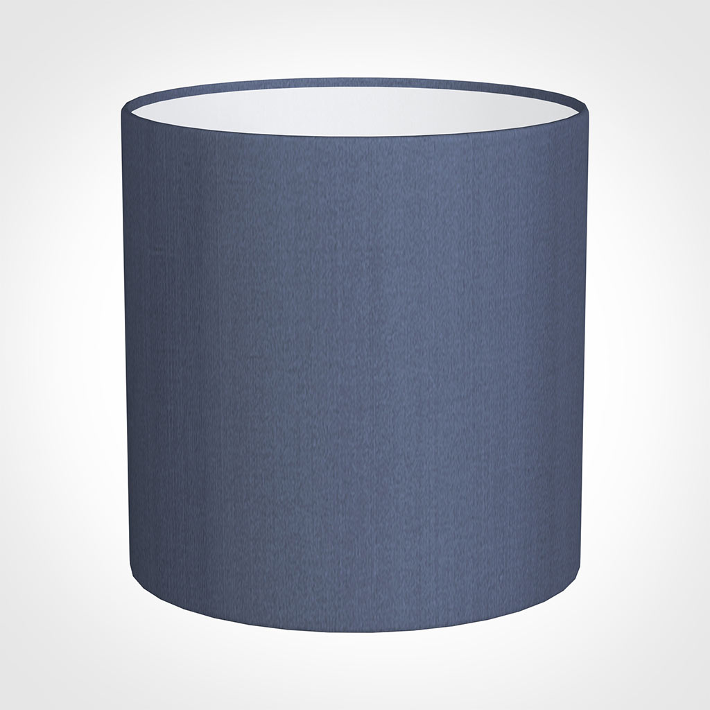 25cm Medium Cylinder Shade in Blue Faux Silk