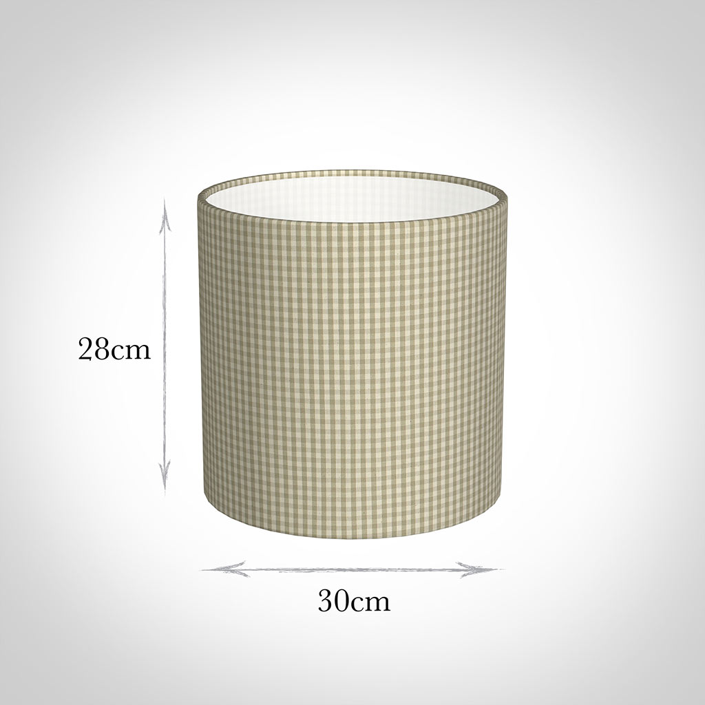 30cm Medium Cylinder Shade in Natural Longford Gingham