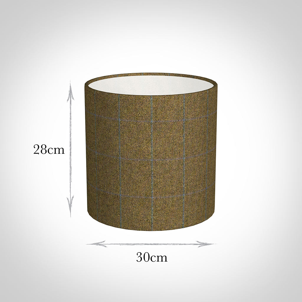 30cm Medium Cylinder in Angus Check Lovat Wool