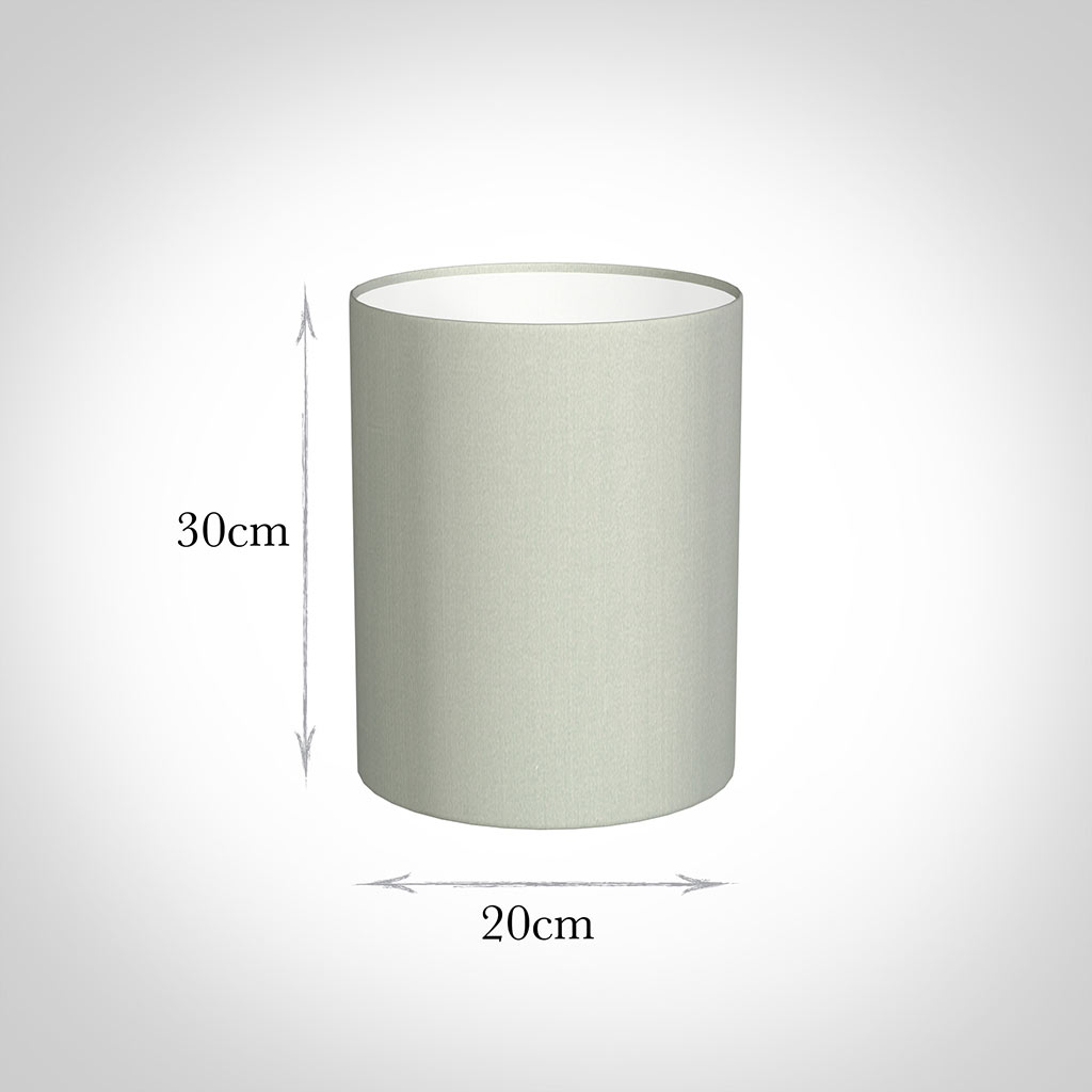 20cm Narrow Cylinder Shade in Soft Grey Faux Silk
