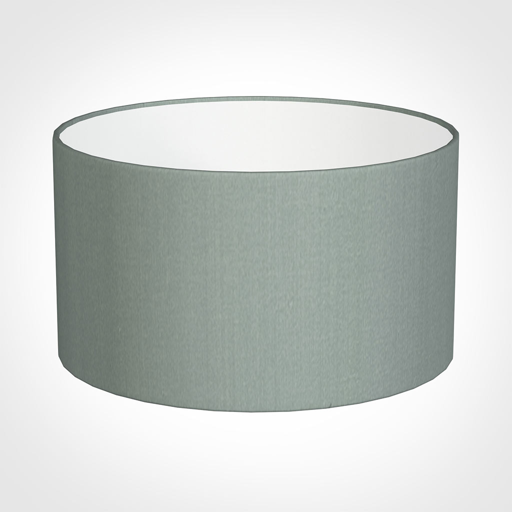 25cm Wide Cylinder Shade in Aquamarine Faux Silk
