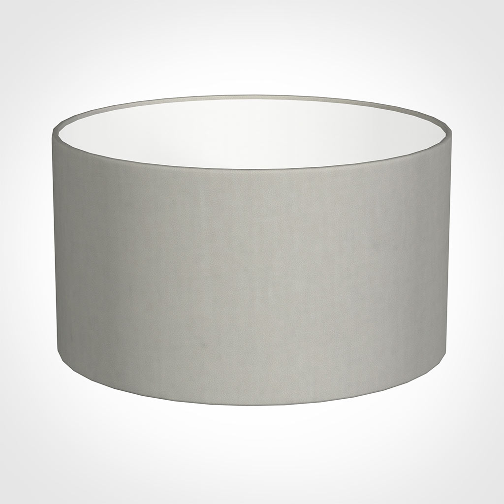 25cm Wide Cylinder Shade in Soft Grey Waterford Linen
