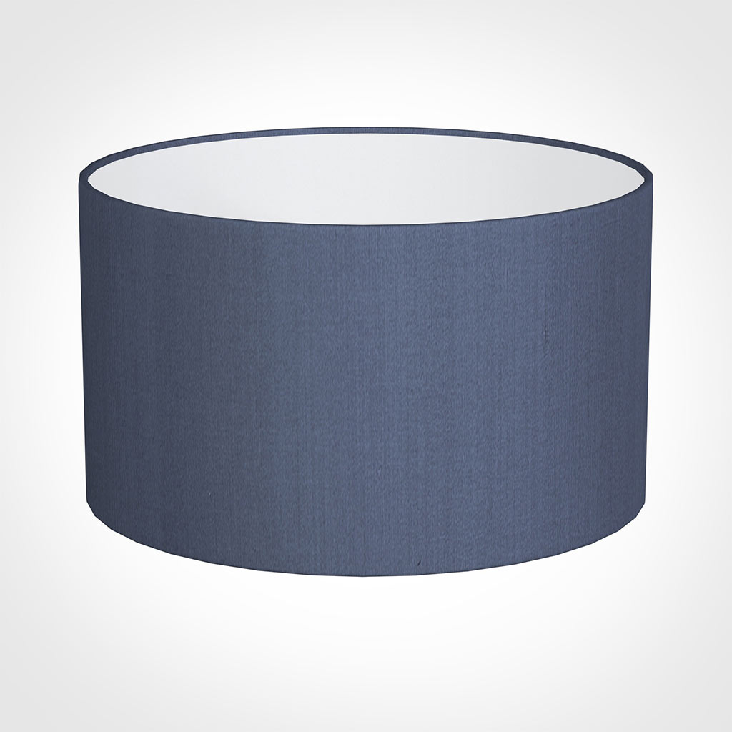 40cm Wide Cylinder Shade in Blue Faux Silk