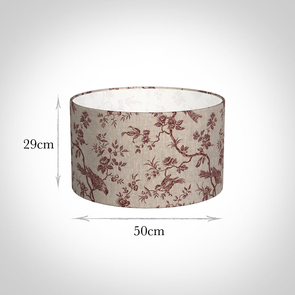50cm Wide Cylinder Shade in Red Isabelle