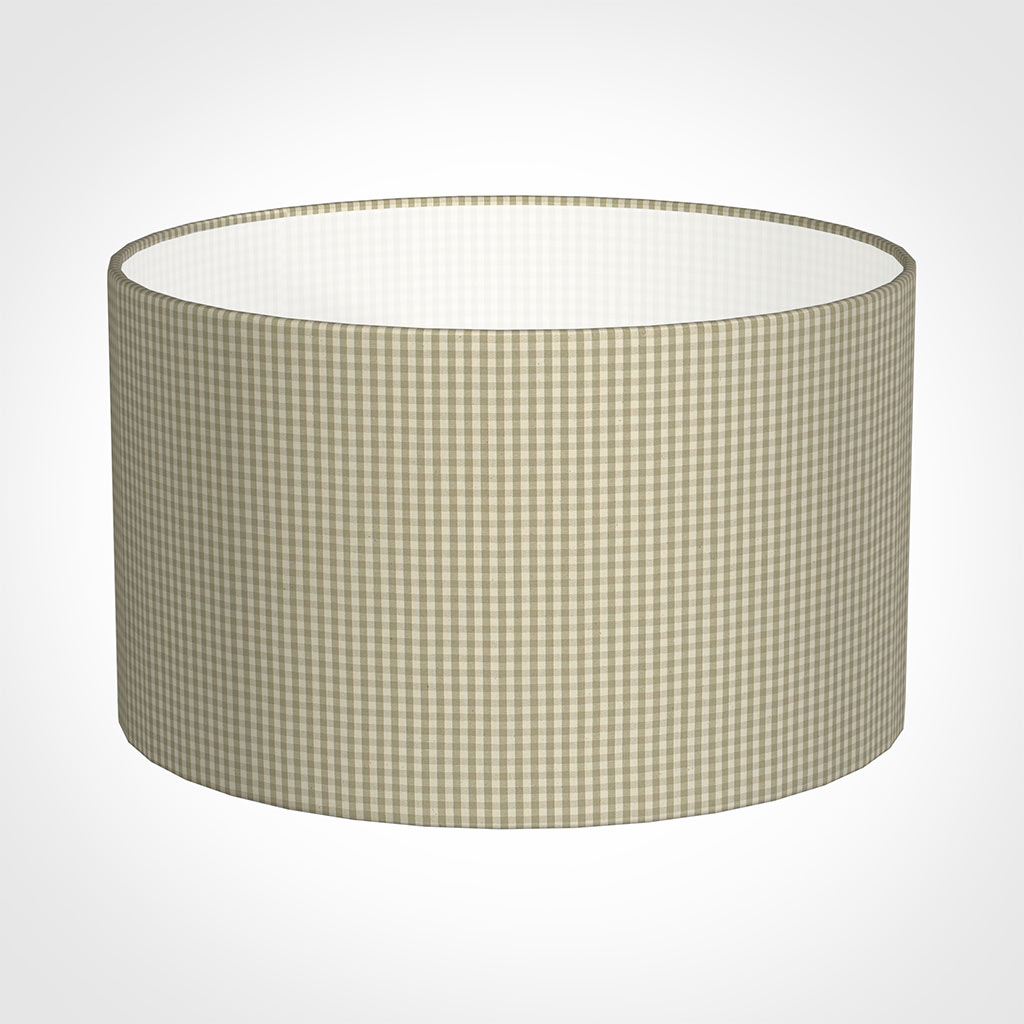 50cm Wide Cylinder Shade in Natural Longford Gingham