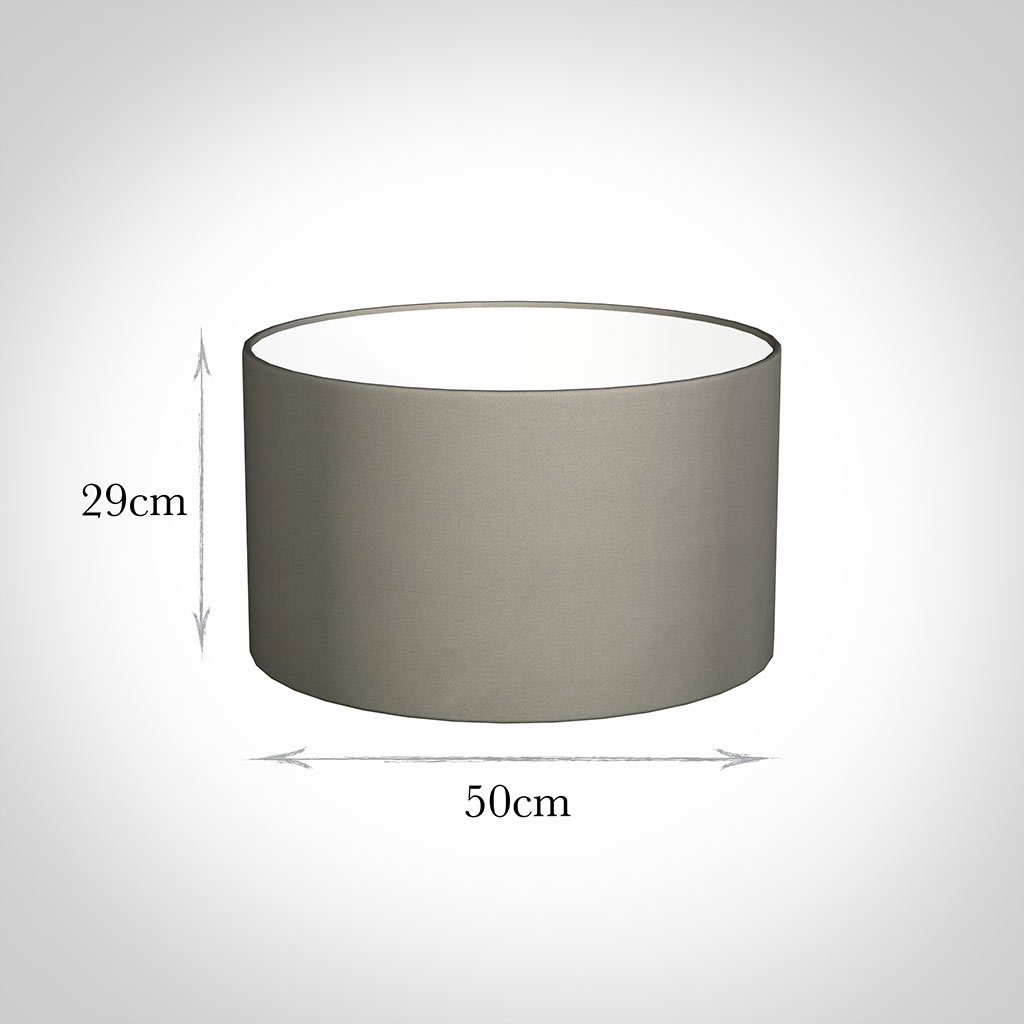 50cm Wide Cylinder Shade in Pewter Satin