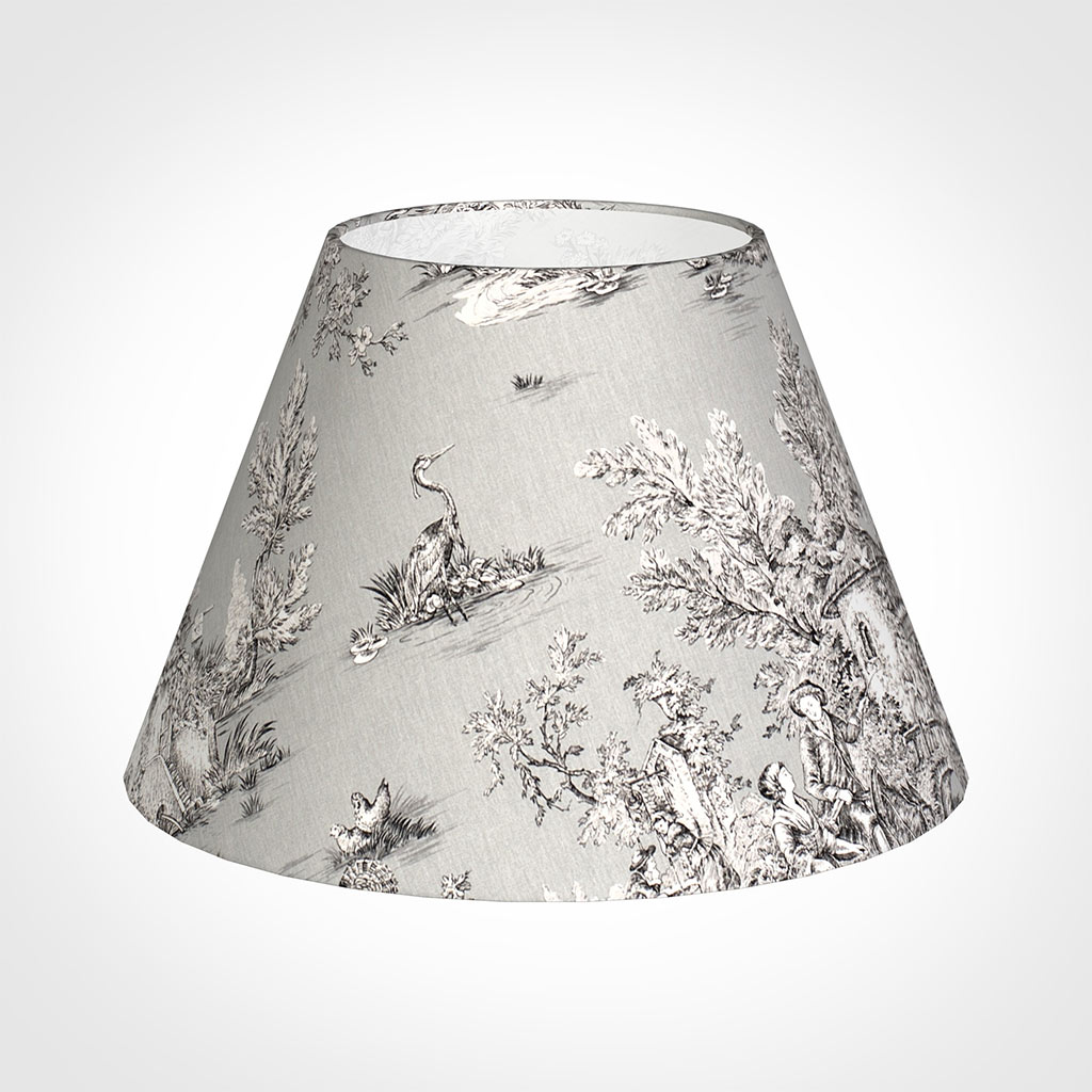 50cm Empire Shade in Grey Pastoral Toile de Jouy -Lamp Base Only