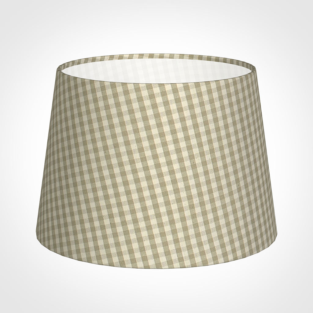 25cm Medium French Drum Shade in Natural Longford Gingham