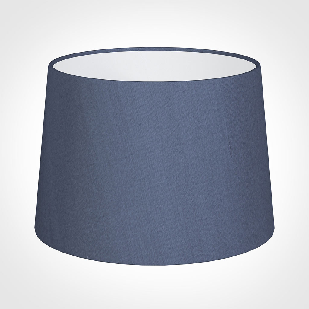 35cm Medium French Drum Shade in Blue Faux Silk
