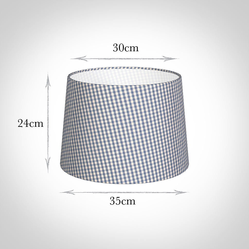 35cm Medium French Drum Shade in Blue Longford Gingham