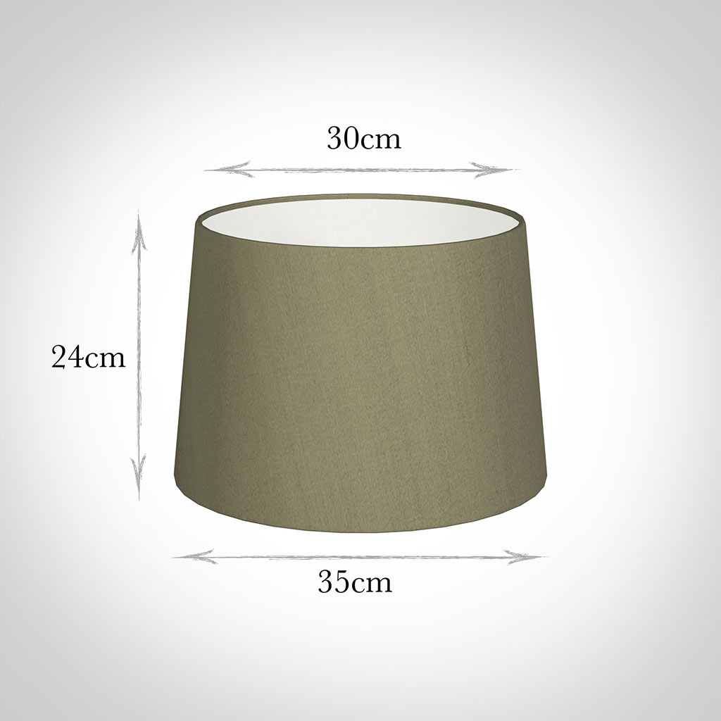 35cm Medium French Drum Shade in Watered Green Silk