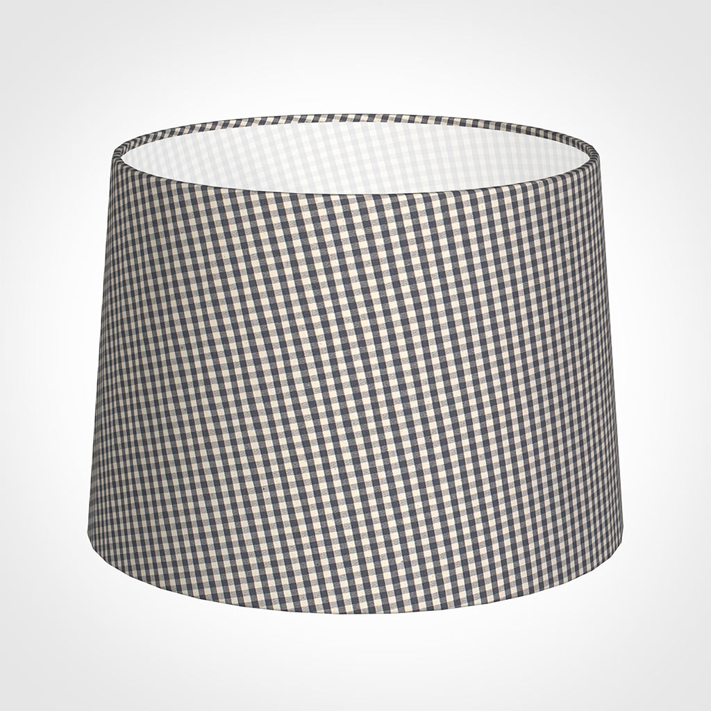 40cm Medium French Drum Shade in Grey Longford Gingham