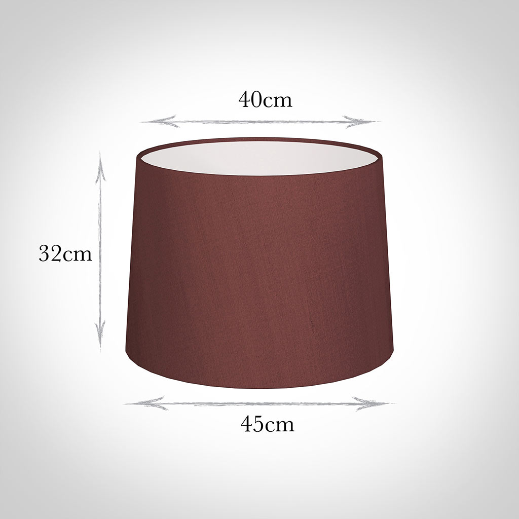 45cm Medium French Drum Shade in Old Red Faux Silk