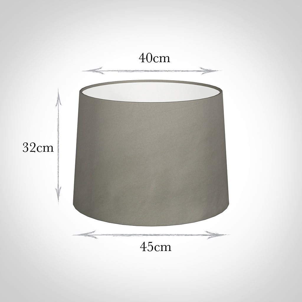 45cm Medium French Drum Shade in Pewter Satin
