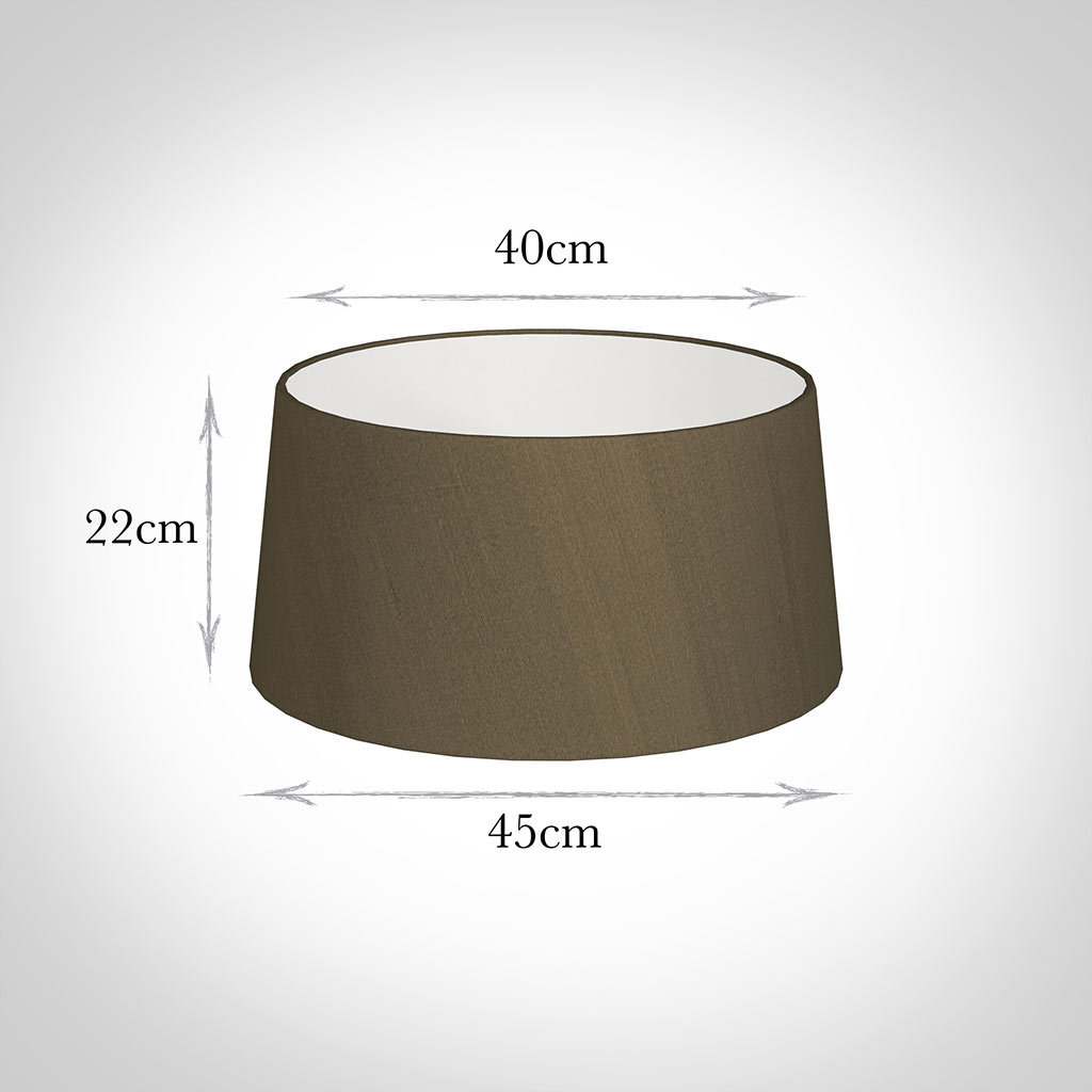 45cm Wide French Drum Shade in Bronze Faux Silk