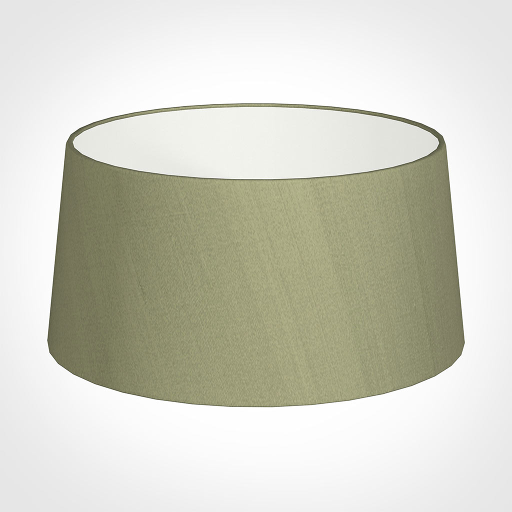 45cm Wide French Drum Shade in Pale Green Faux Silk