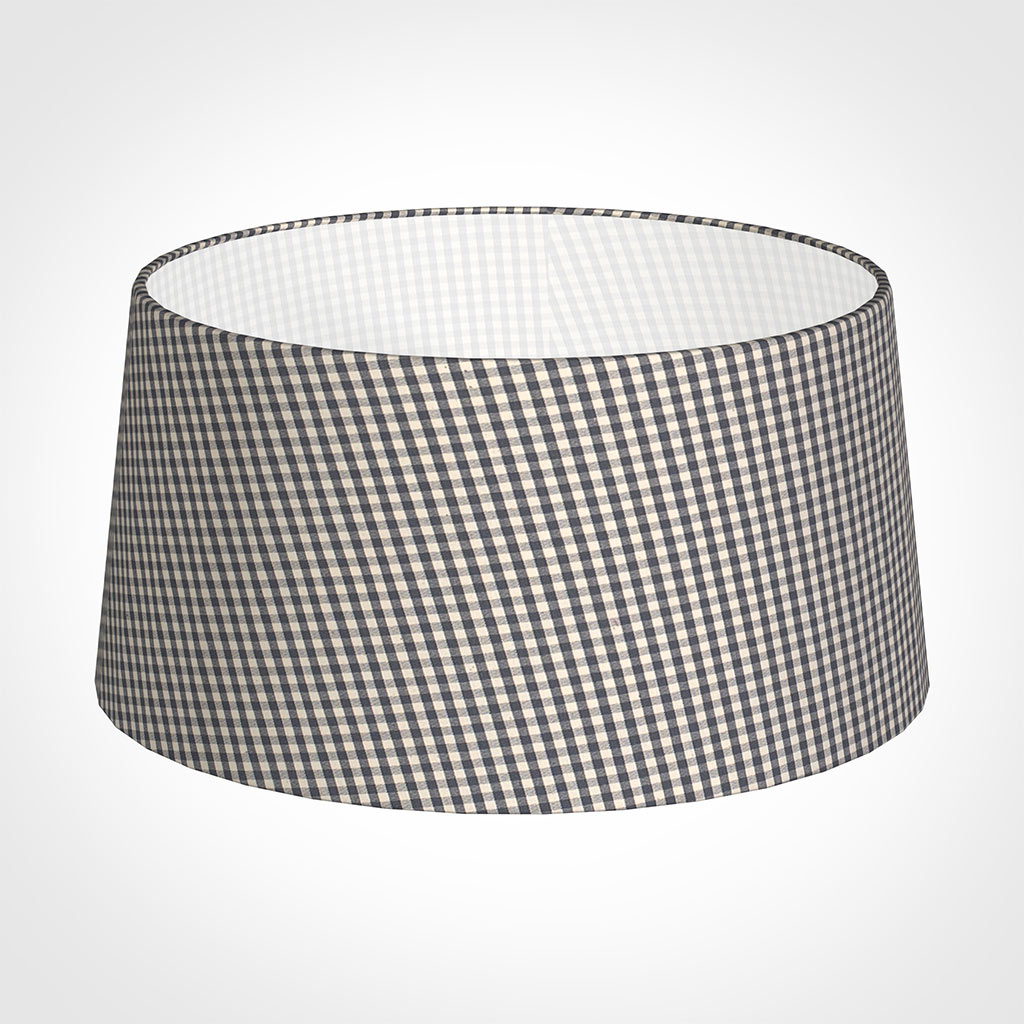 45cm Wide French Drum Shade in Grey Longford Gingham