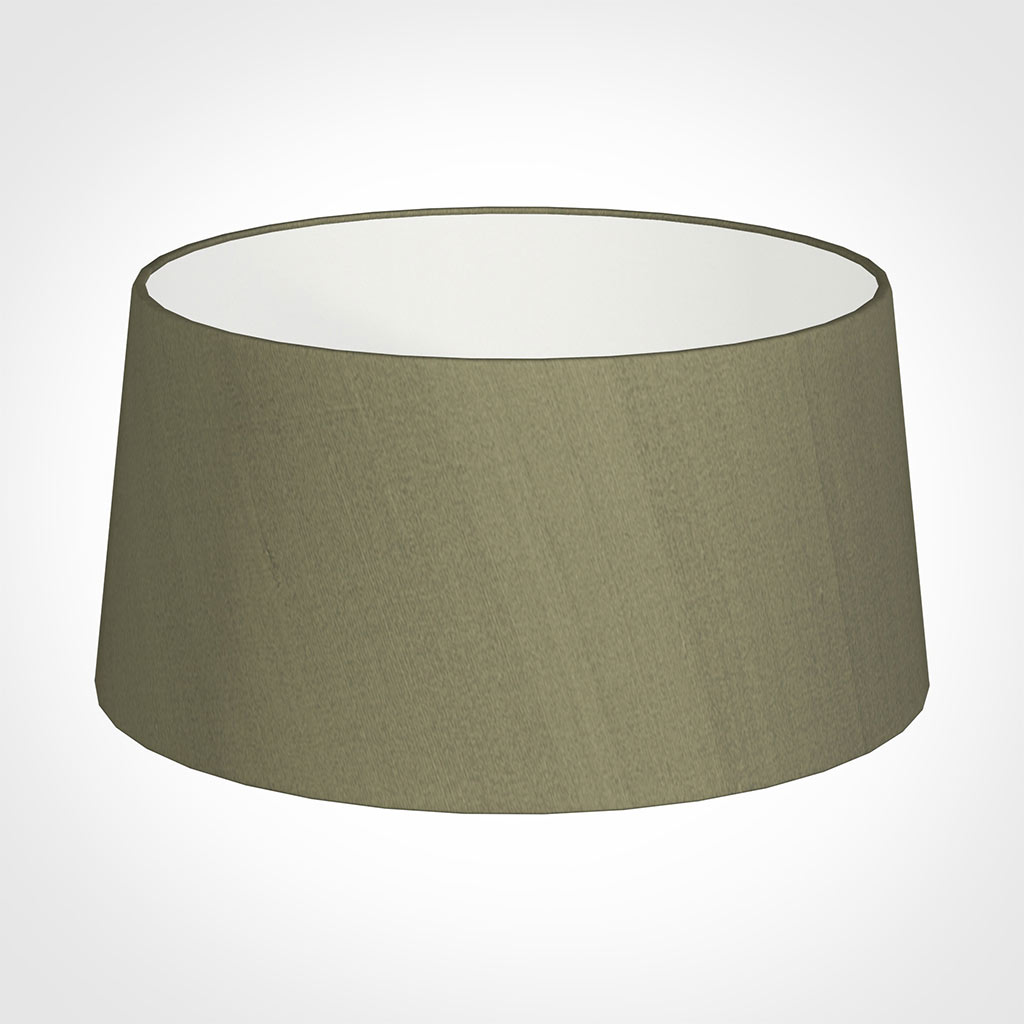 45cm Wide French Drum Shade in Watered Green Silk
