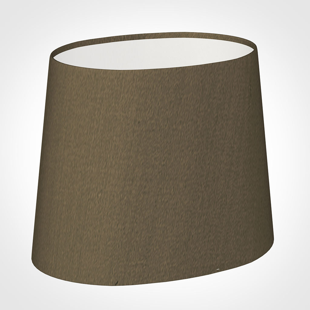 20cm Sloped Oval Shade in Bronze Faux Silk