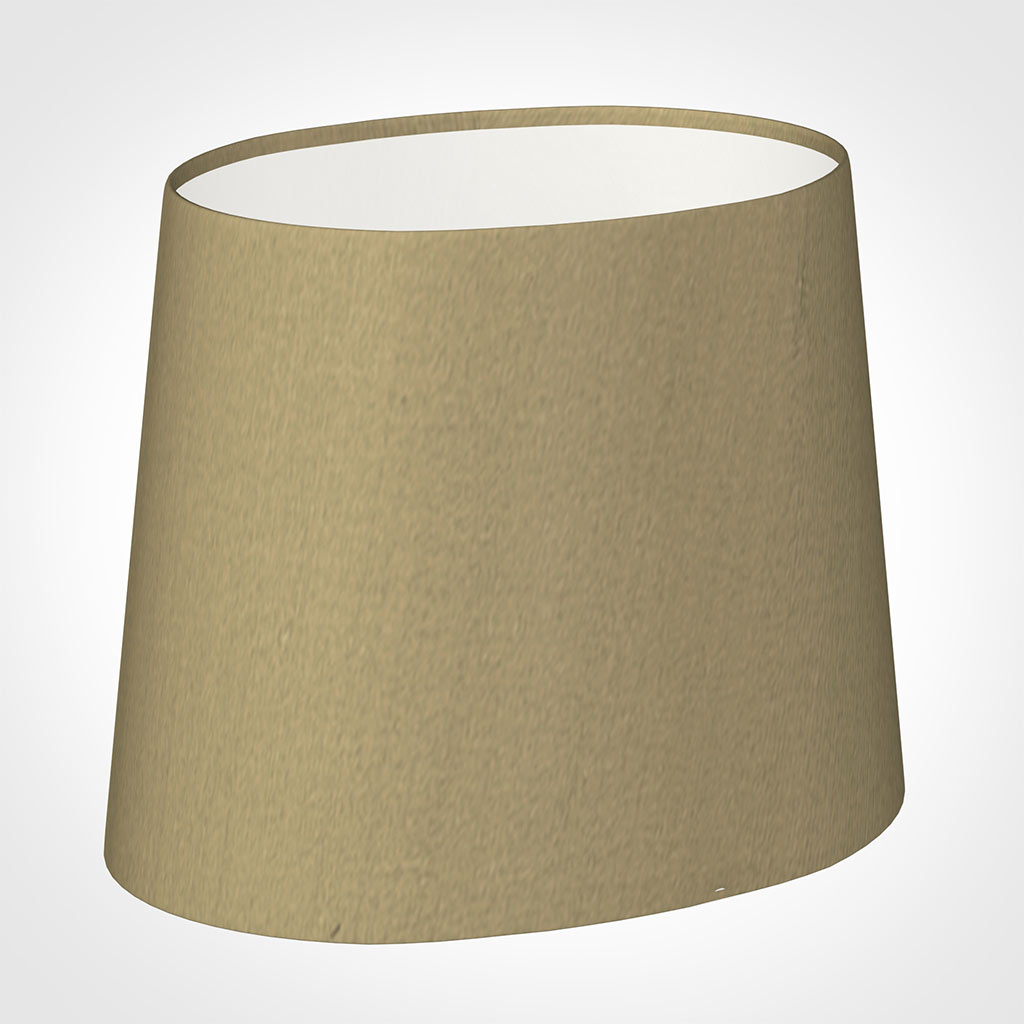 20cm Sloped Oval Shade in Oyster Faux Silk