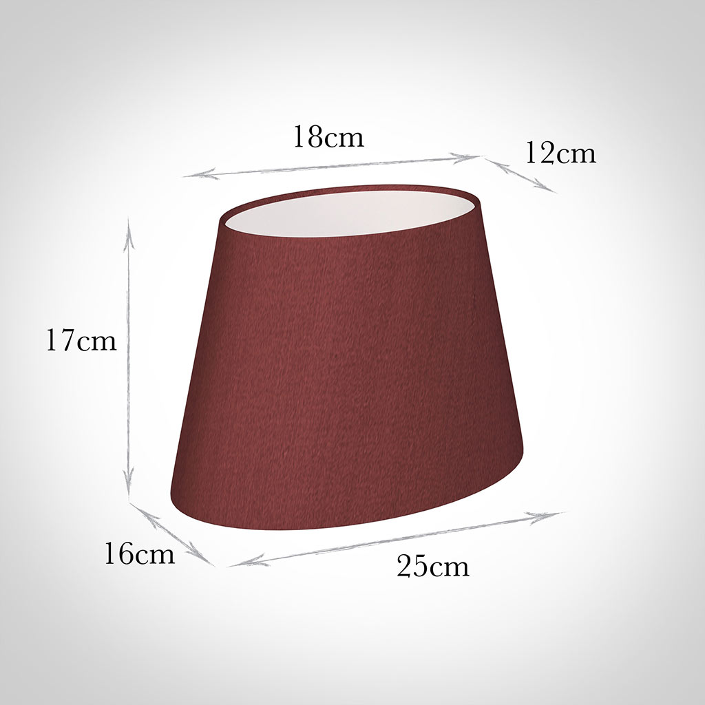 25cm Sloped Oval Shade in Antique Red Silk