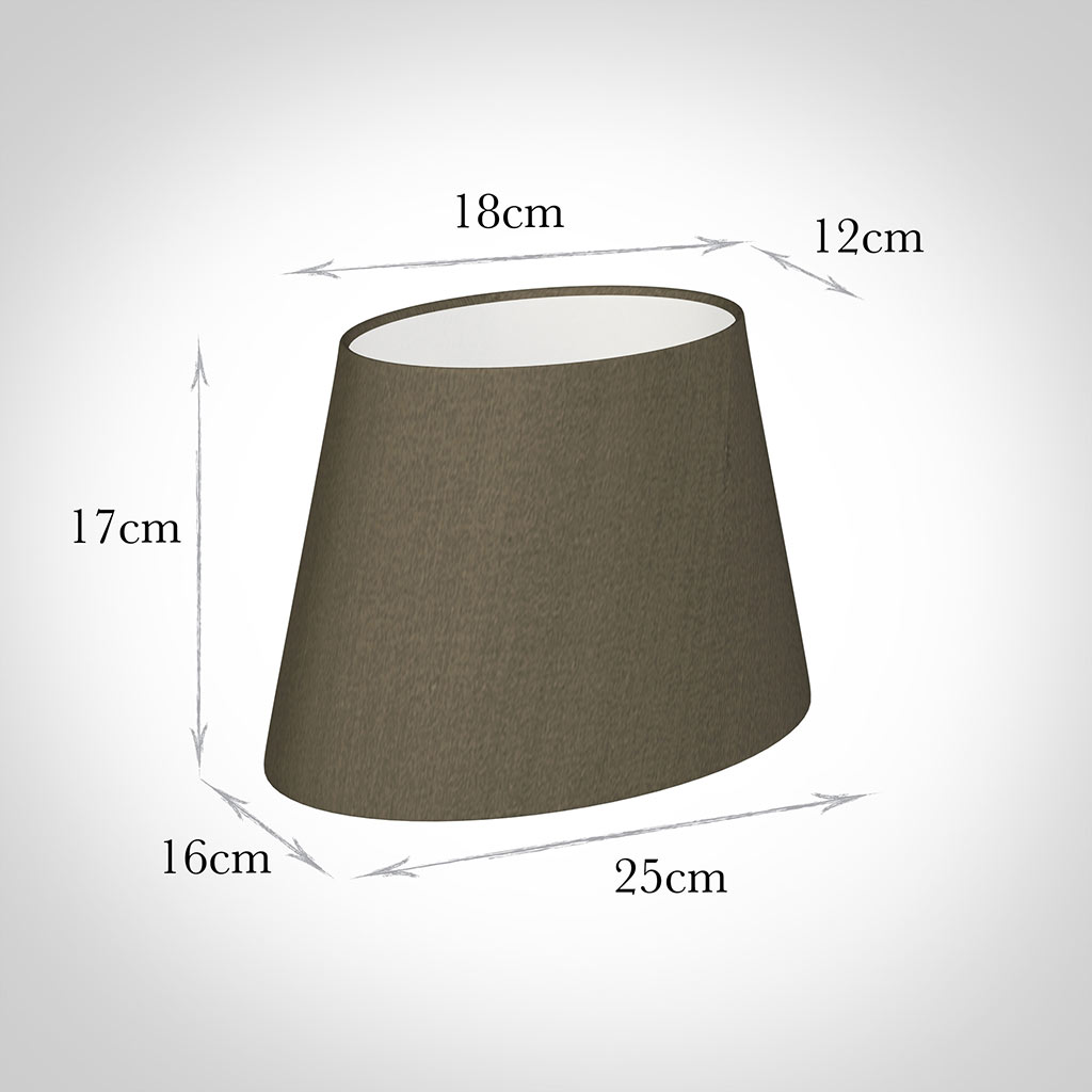 25cm Sloped Oval Shade in Bronze Brown Silk