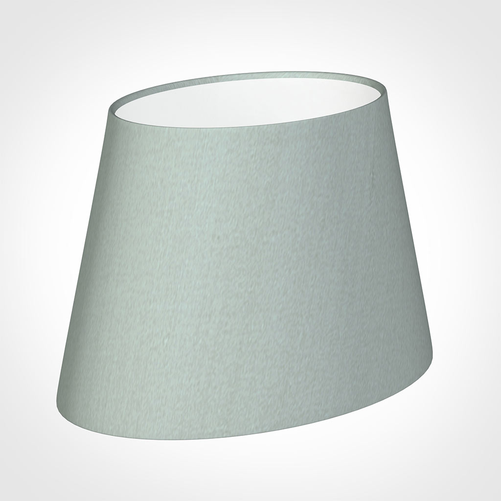 25cm Sloped Oval Shade in French Grey Silk