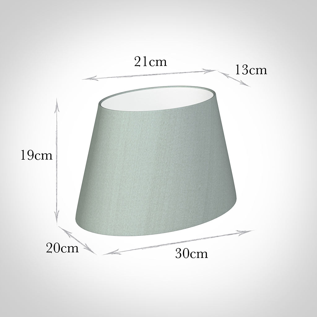 30cm Sloped Oval Shade in French Grey Silk