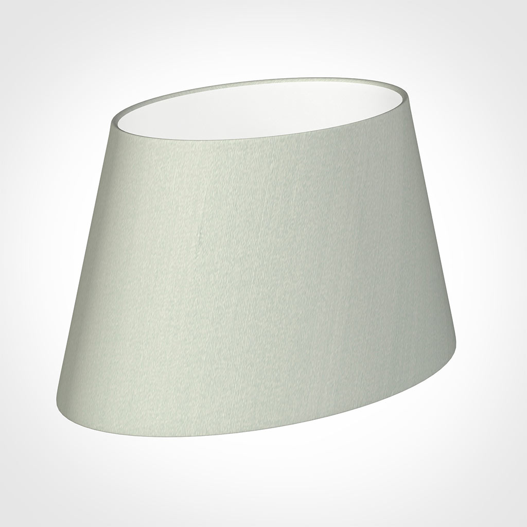 35cm Sloped Oval Shade in Soft Grey Faux Silk