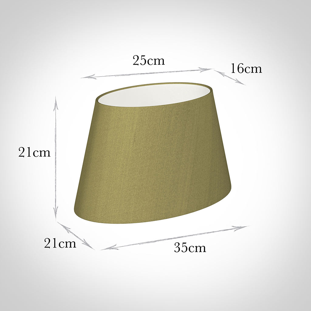 35cm Sloped Oval Shade in Antique Gold Silk