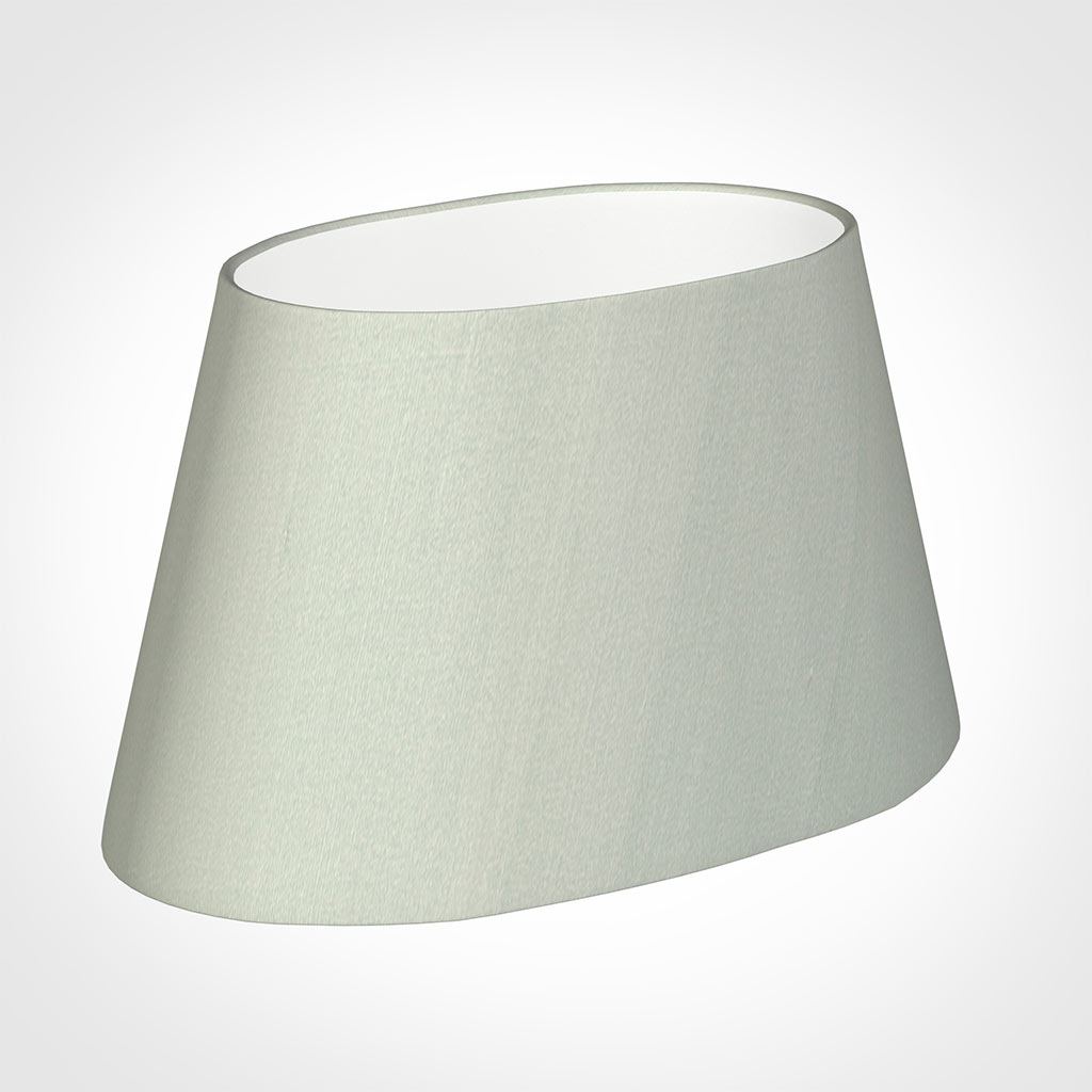 40cm Sloped Oval Shade in Soft Grey Faux Silk