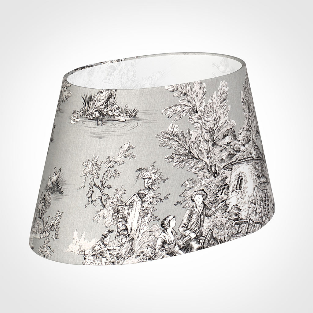 40cm Sloped Oval Shade in Grey Pastoral Toile de Jouy-Lamp Base Only
