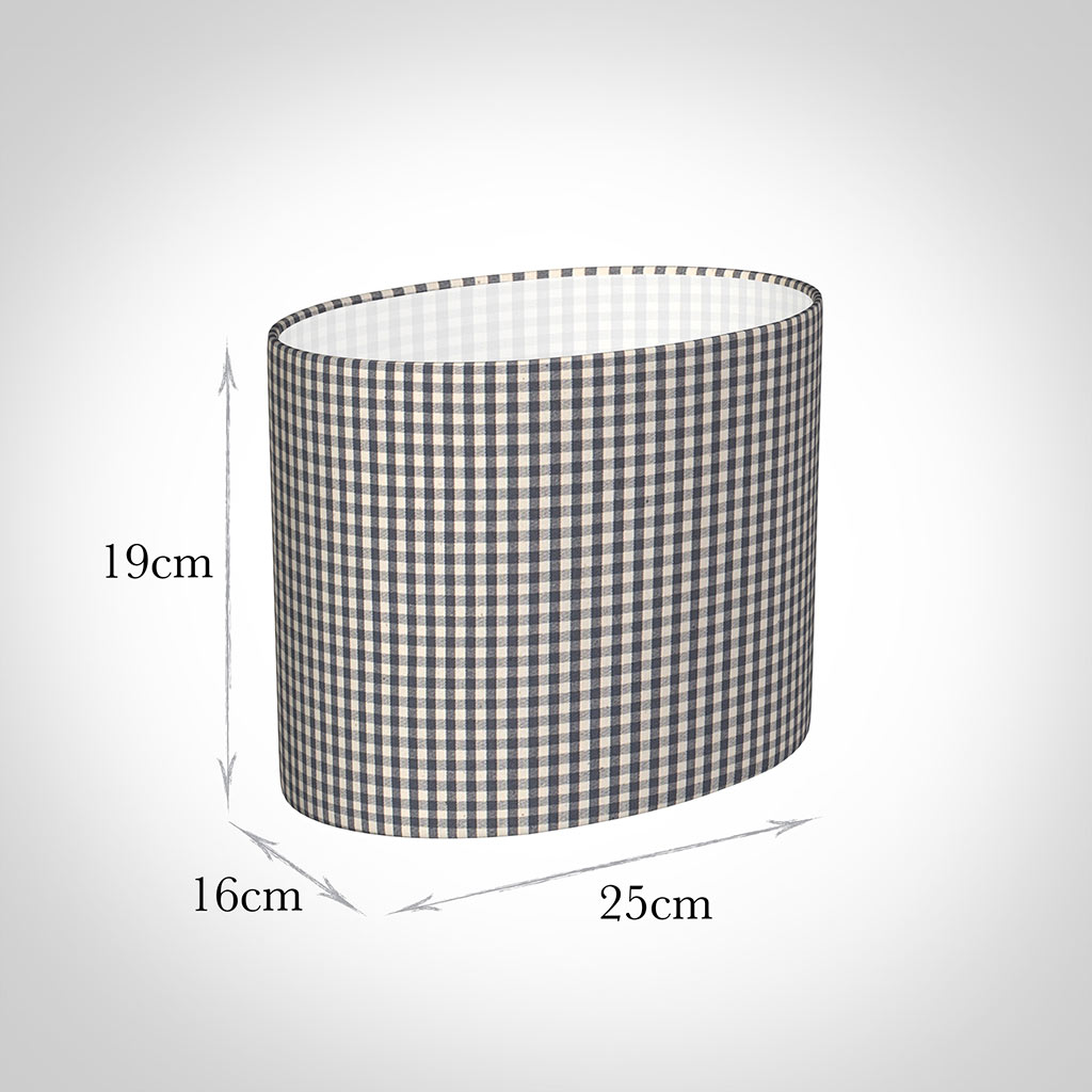 25cm Straight Oval Shade in Grey Longford Gingham
