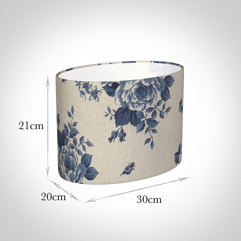 30cm Straight Oval Shade in Blue Bloom