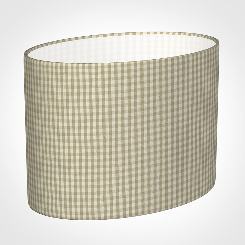 30cm Straight Oval Shade in Natural Longford Gingham
