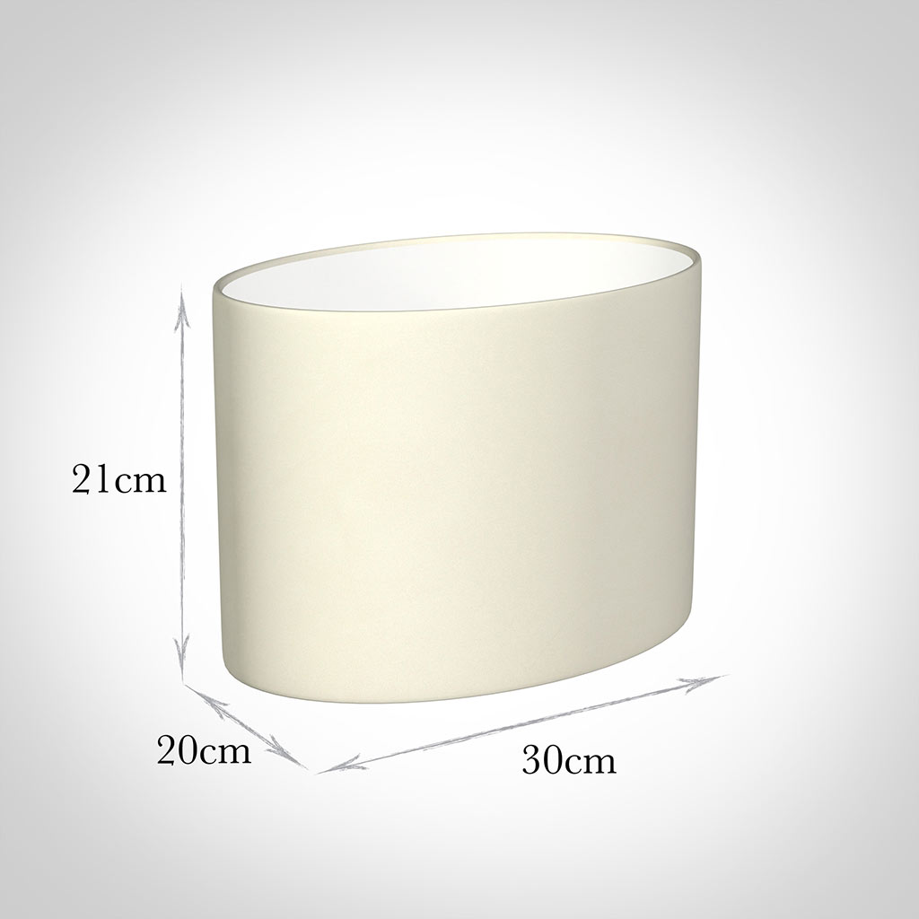 30cm Straight Oval Shade in Cream Satin
