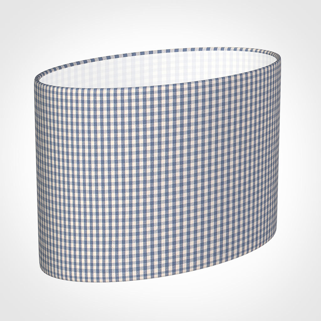 35cm Straight Oval Shade in Blue Longford Gingham