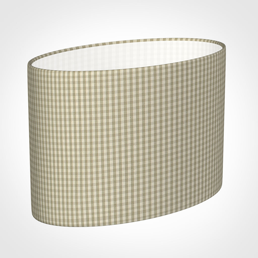 35cm Straight Oval Shade in Natural Longford Gingham