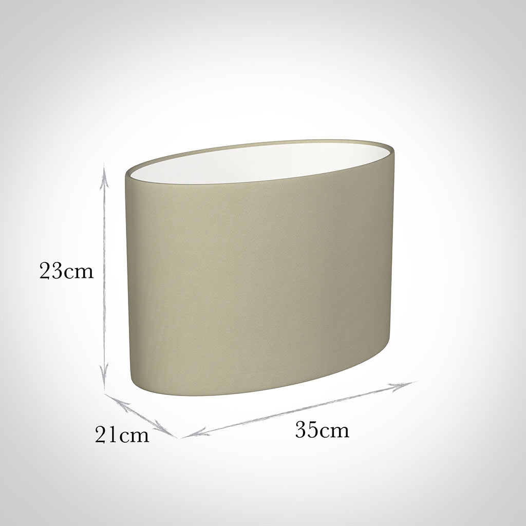 35cm Straight Oval Shade in Pale Smoke Satin