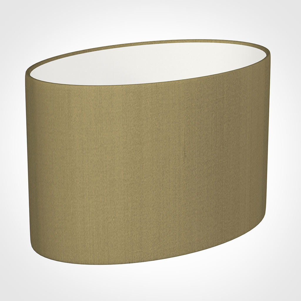 40cm Straight Oval Shade in Dull Gold Faux Silk