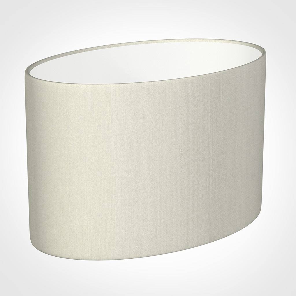 40cm Straight Oval Shade in Pearl Faux Silk