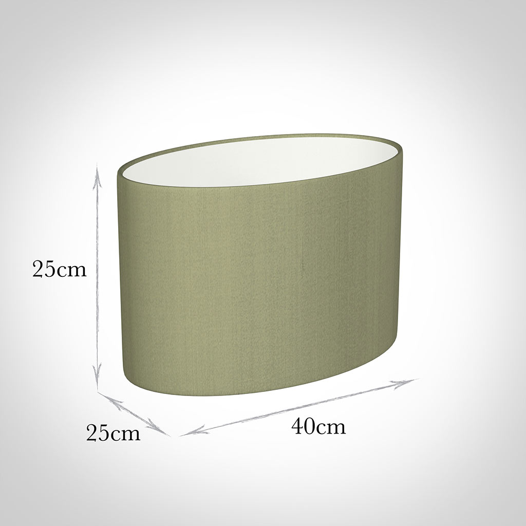40cm Straight Oval Shade in Pale Green Faux Silk