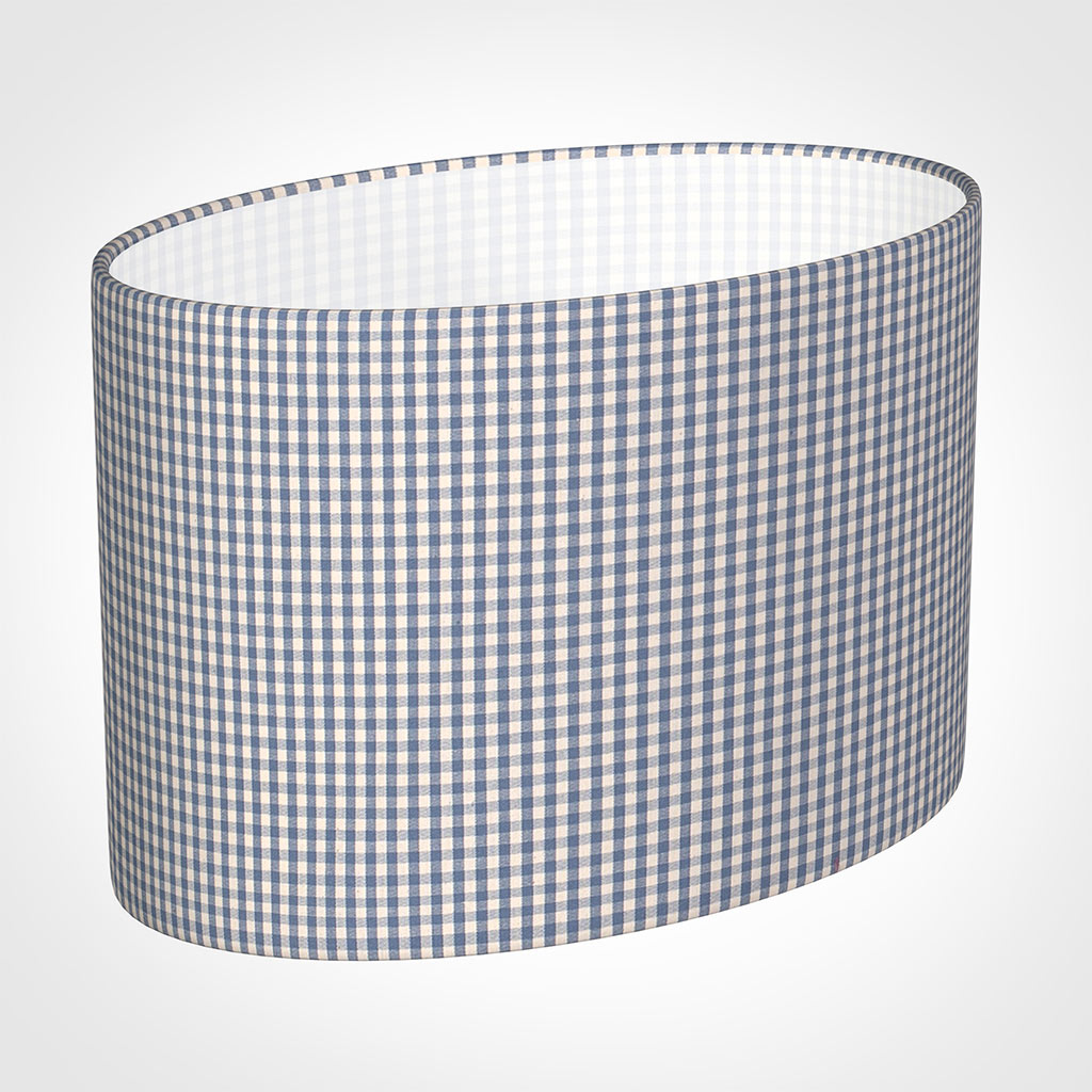 40cm Straight Oval Shade in Blue Longford Gingham