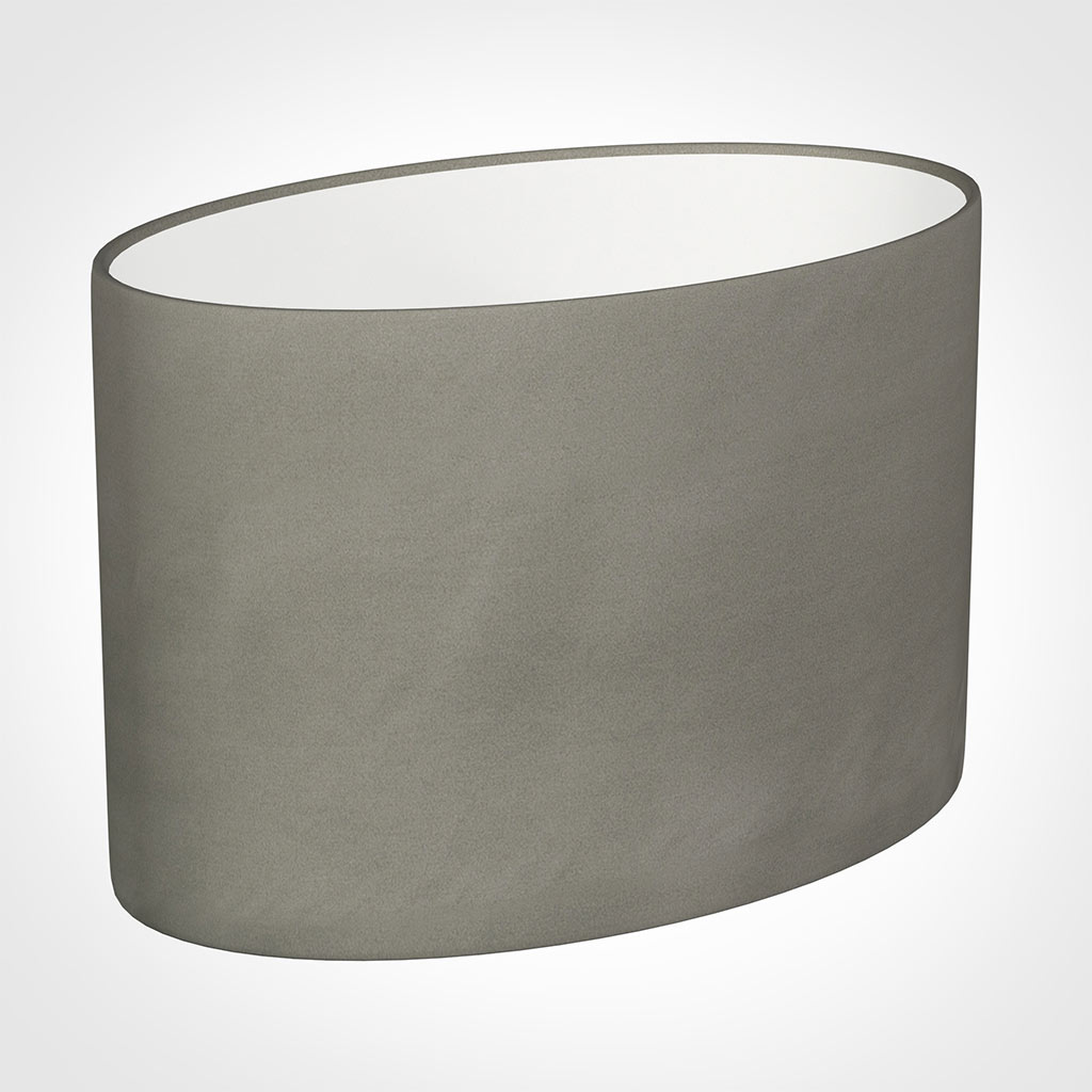40cm Straight Oval Shade in Pewter Satin