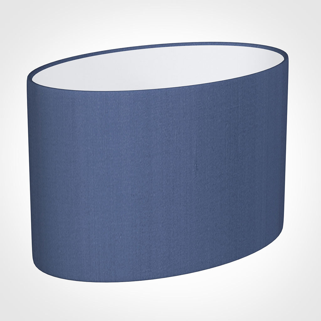 40cm Straight Oval Shade in Slate Blue Silk