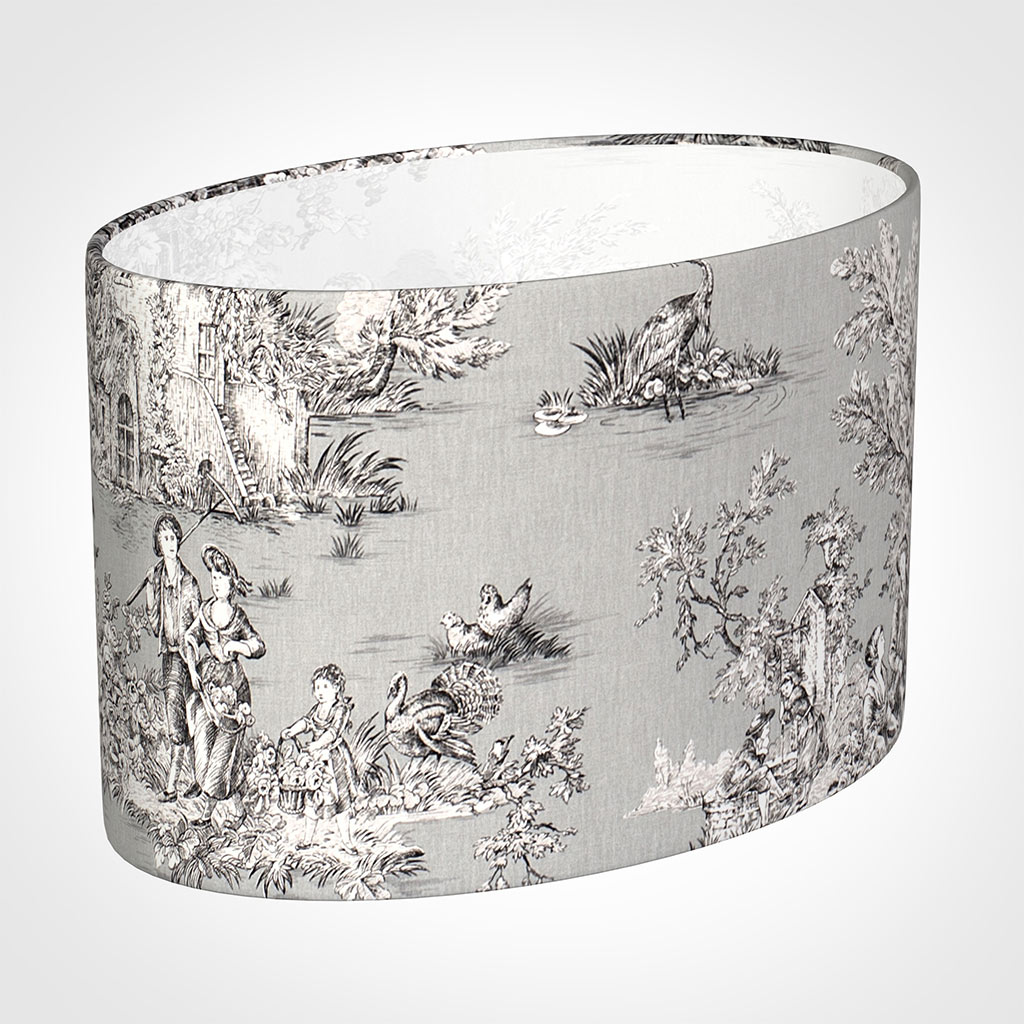 40cm Straight Oval Shade in Grey Pastoral Toile de Jouy