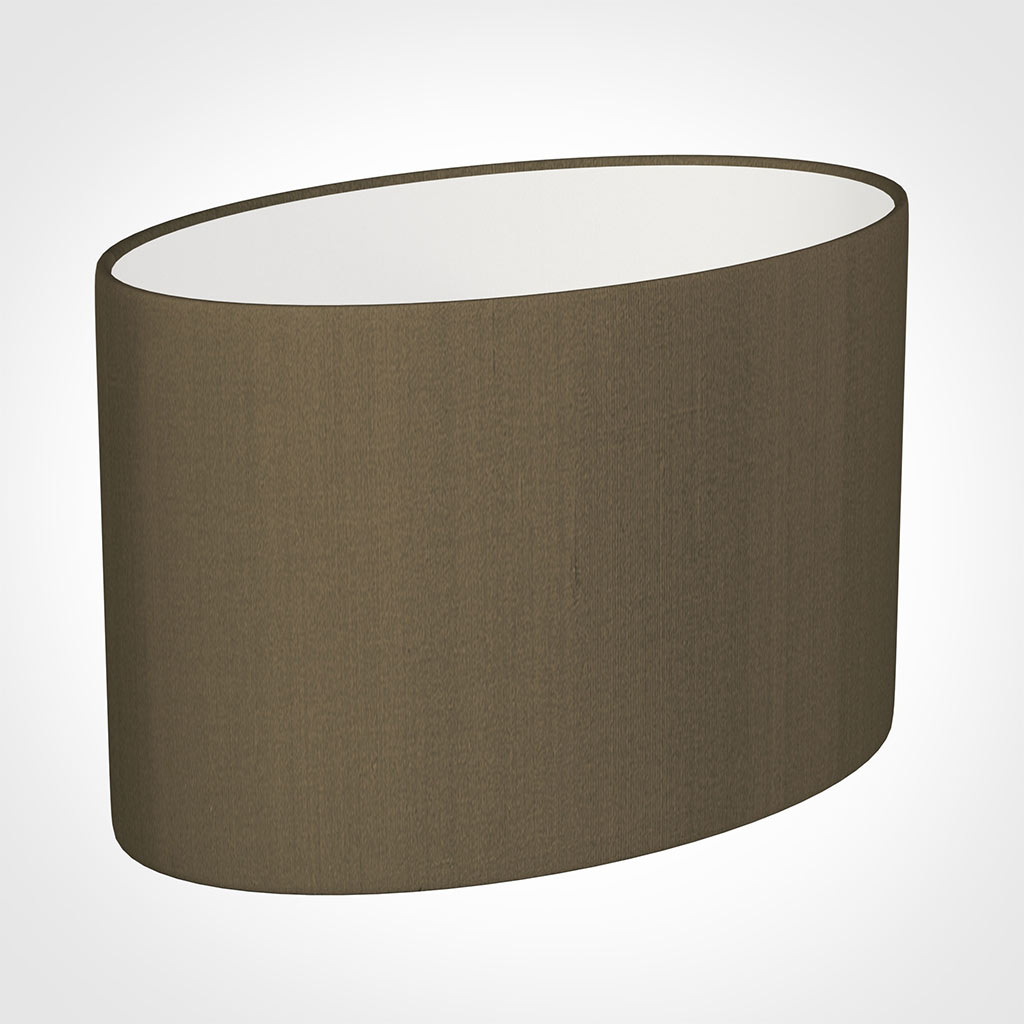 45cm Straight Oval Shade in Bronze Faux Silk
