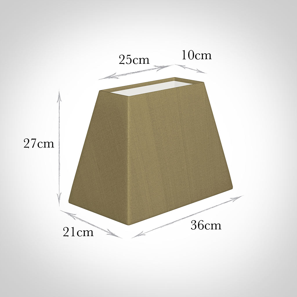 36cm Sloped Rectangle Shade in Dull Gold Faux Silk