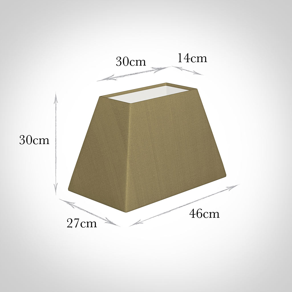 46cm Sloped Rectangle Shade in Dull Gold Faux Silk